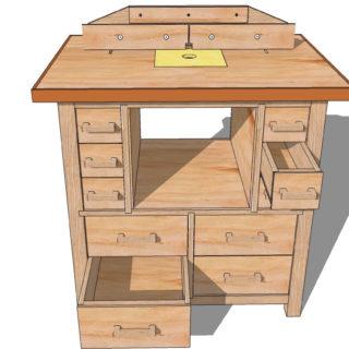 Фрезерный стол с ящиками для хранения