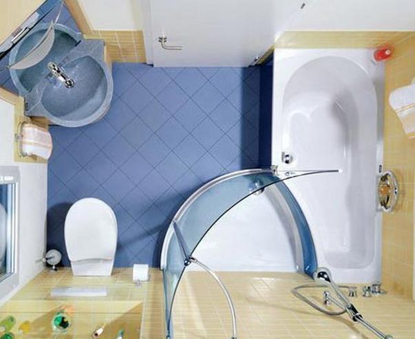 """Дизайн """"раздвигающий стены"""" маленькой ванной комнаты"""
