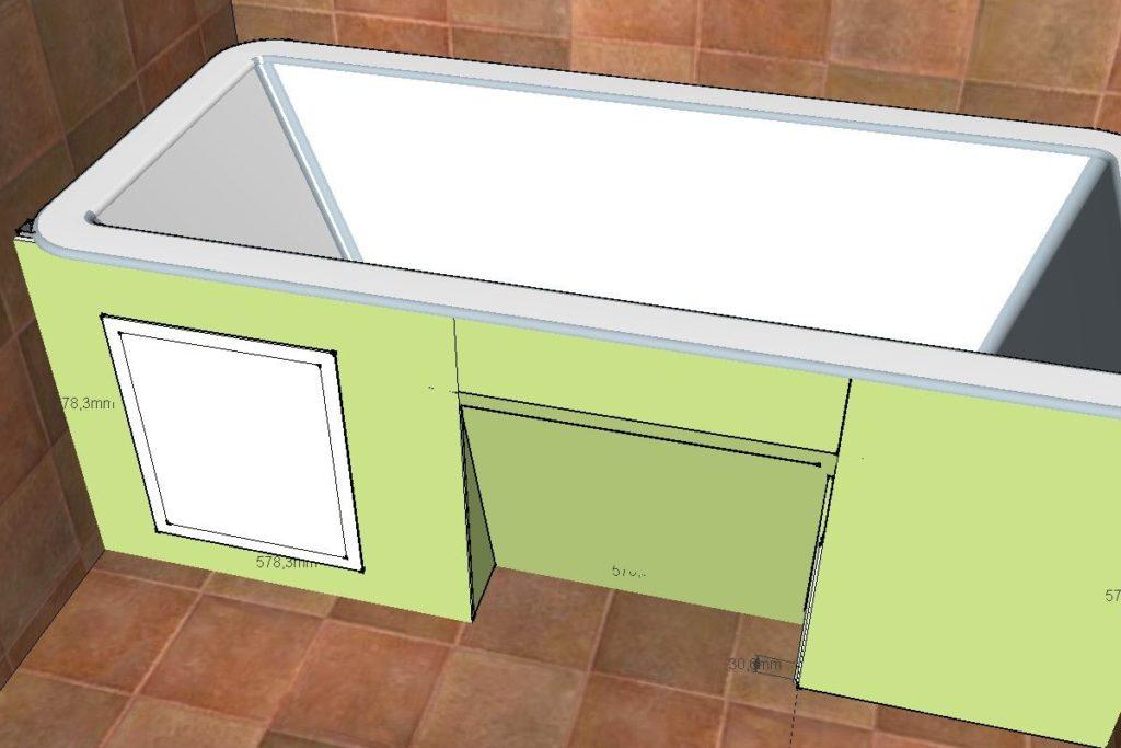 Экран из гипсокартона под ванну