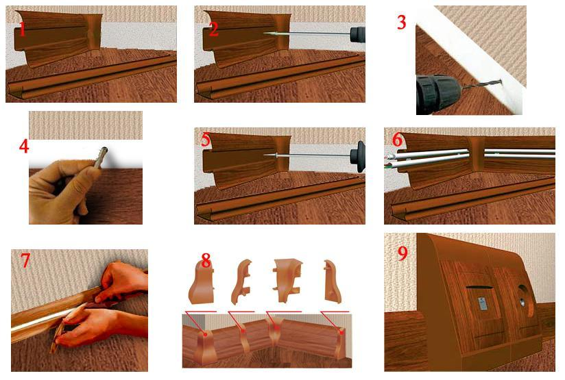 Монтаж пластикового плинтуса пошаговая инструкция