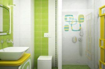 Интерьер ванной комнаты в бело-зеленых тонах