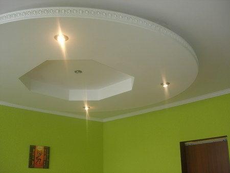 Подвесной потолок из гипсокартона в виде летающей тарелки